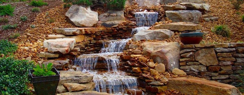 waterfall with rocks